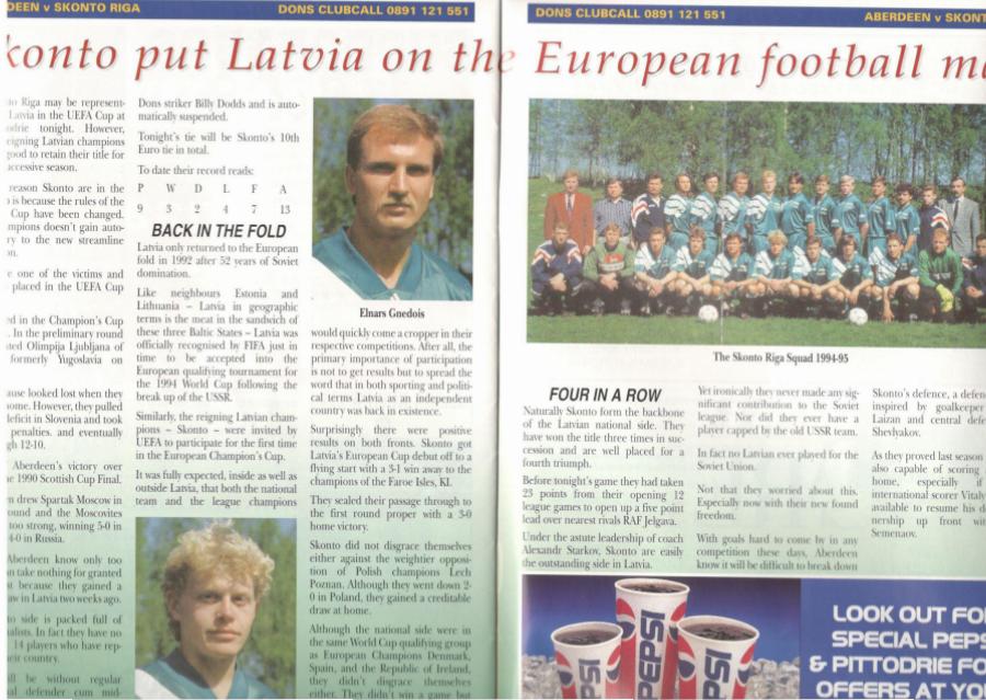 Le Skonto Riga dans le magazine officiel d'Aberdeen | © The Dons - Match Day Magazine 23.08.1994