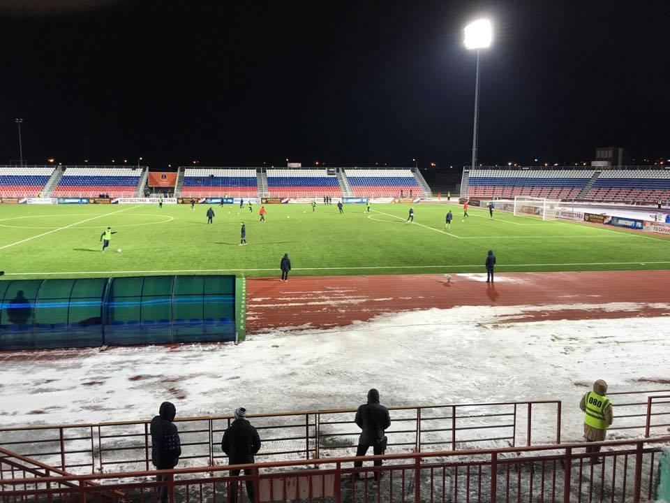 Le stade Start pour un match de RPL en hiver © Adrien Laëthier / Footballski