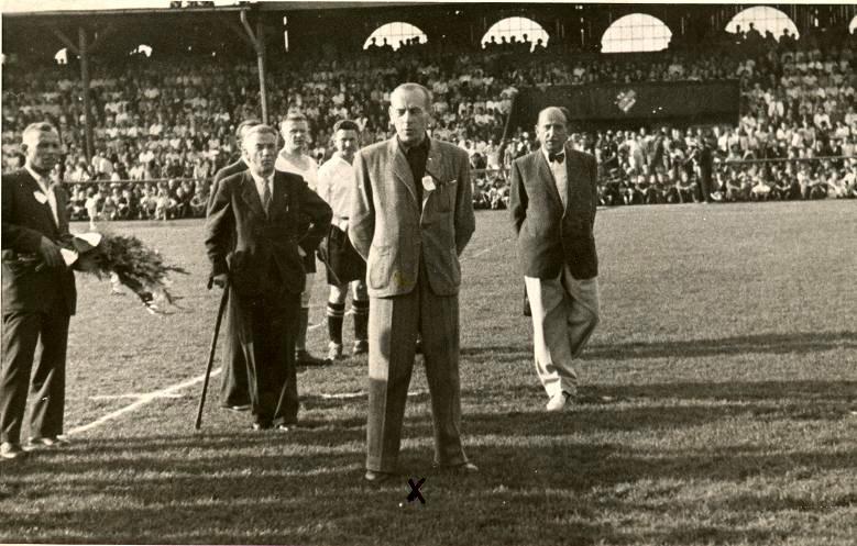 Lors d'un match amical de la Pologne en 1945