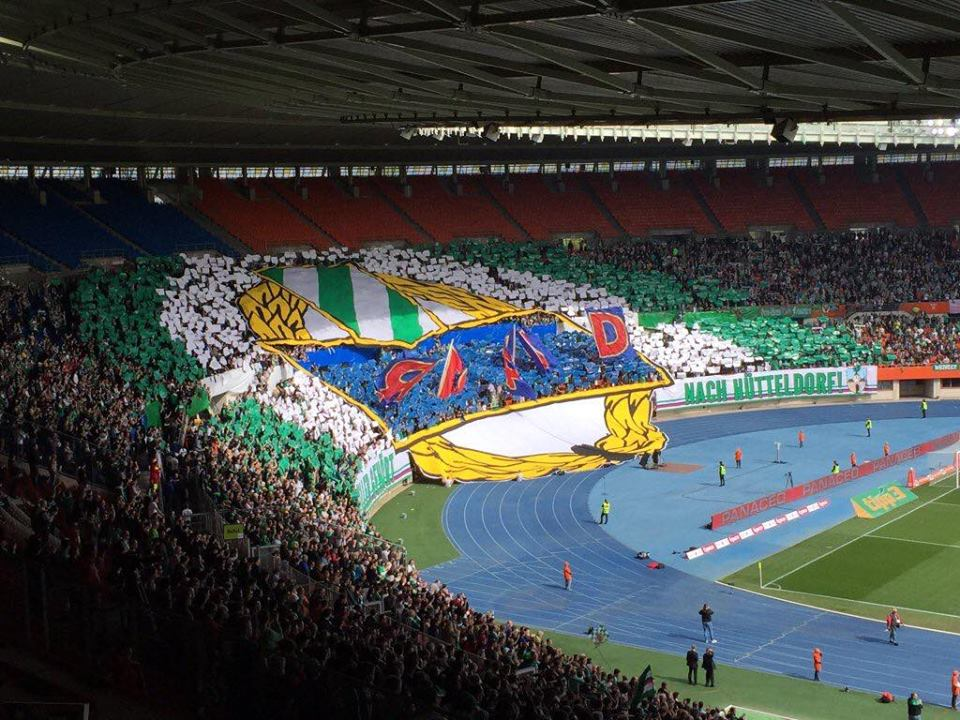 Le tifo des ultras du Rapid, lors de la dernière récepetion de Salzbourg.