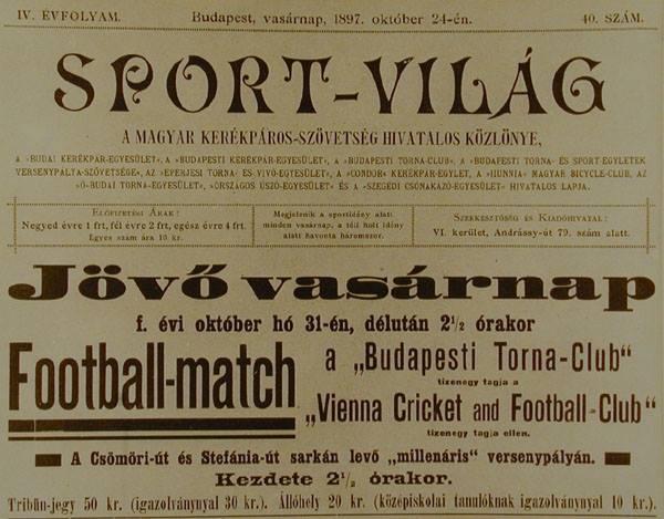 Une d'un journal hongrois en 1897, annonçant un match entre le Torna et le VCFC