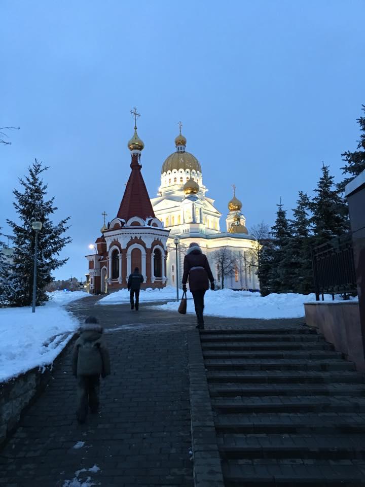 Saransk et sa cathédrale en hiver © Adrien Laëthier/Footballski