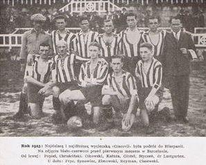 L'équipe du Cracovia avant d'affronter le FC Barcelone, Jan Reyman est en bas, le second en partant de droite (photo: Wikipasy.pl)