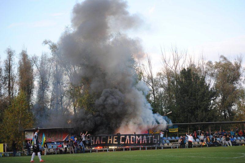 Ambiance à Plysky contre Edinist © Page FB des ultras du Tavria