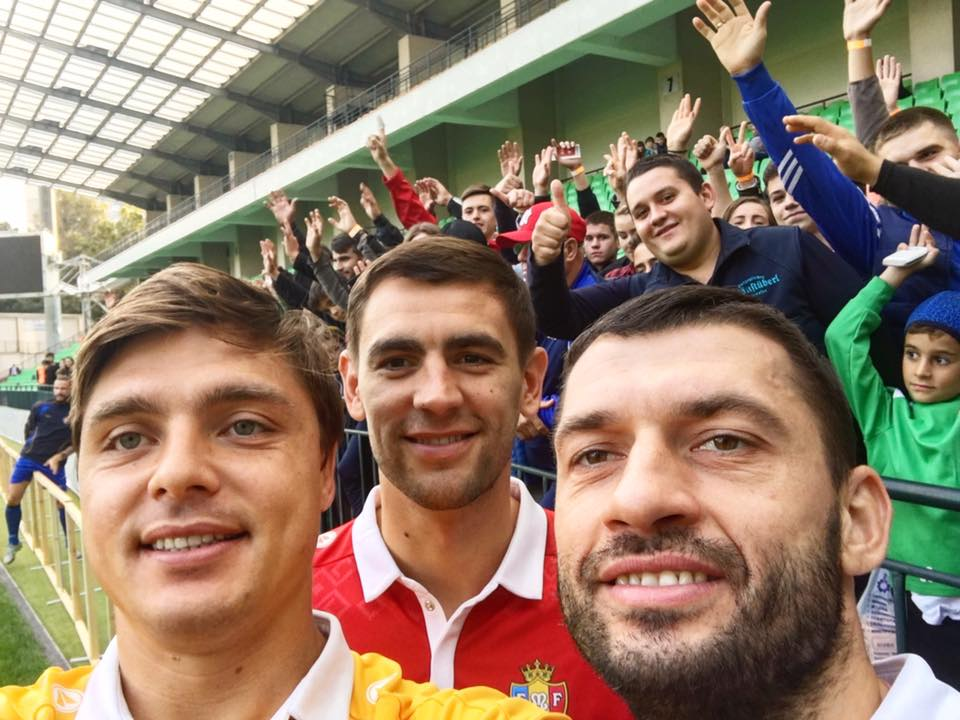Epureanu, Armas et Gatcan lors de l'entraînement ouvert au public avant Moldavie-Serbie | © facebook.com/FMFMoldova